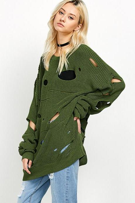 High Quality Women Loose Long Sleeve Hollow Out Long Style Sweater - Green