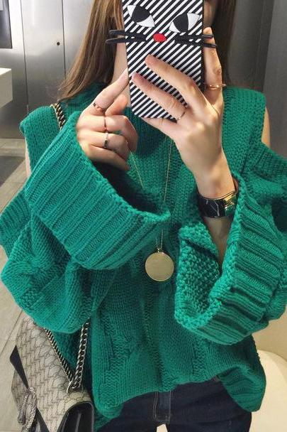 High Quality Casual Loose Long Sleeve Long Style Sweater - Green