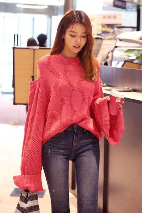 High Quality Casual Loose Long Sleeve Long Style Sweater - Rose Pink