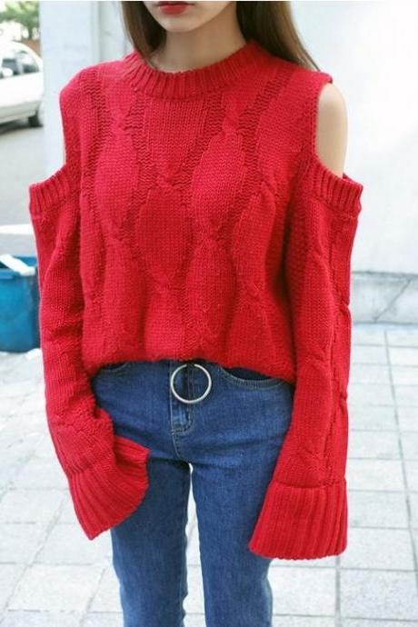 Red Cable Knitted Long Flared Sleeves Sweater Featuring Cold Shoulder Cutout and Crew Neck