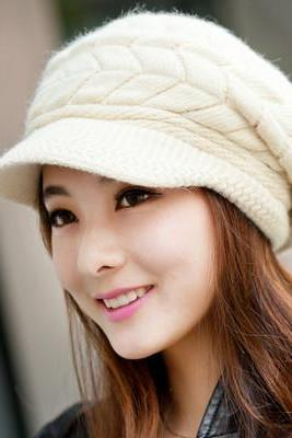 Free Shipping Cute Winter Hat Knit Cap For Women - Beige