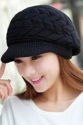 Free Shipping Cute Winter Hat Knit Cap For Women - Black