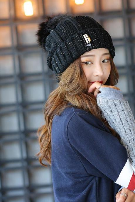 Free Shipping Super Cute Hat Knit Cap For Winter - Black