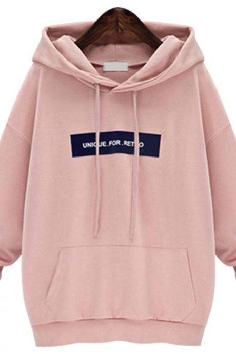 Fashion Desinger Hooded Collar Pullover Sweatshirt - Pink