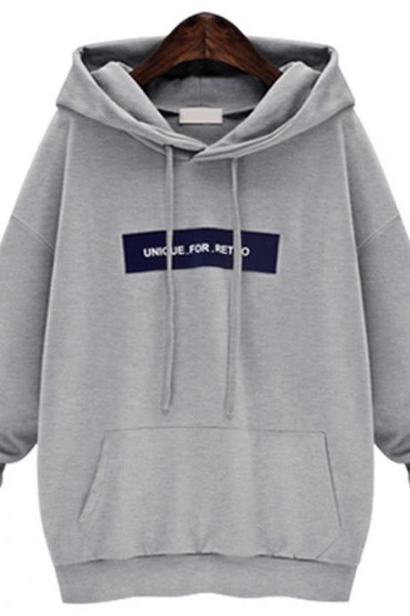 Fashion Desinger Hooded Collar Pullover Sweatshirt - Grey