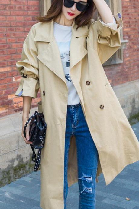 Fashion New Turndown Collar Double Breasted Khaki Trench Coat