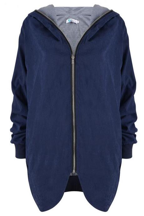 Fashion New Women Loose Hooded Collar Zipper Coat - Blue