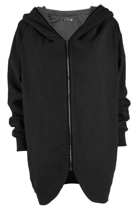 Fashion New Women Loose Hooded Collar Zipper Coat - Black
