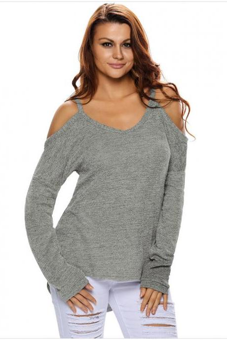 Grey Knit Plunge V Cold Shoulder Long Sleeves Sweater