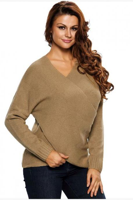 High Quality Irregular V Neck Long Sleeve Sweater - Khaki