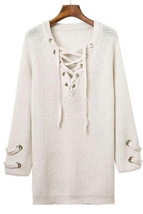White Knit Lace-Up Plunge V Long Sleeves Sweater
