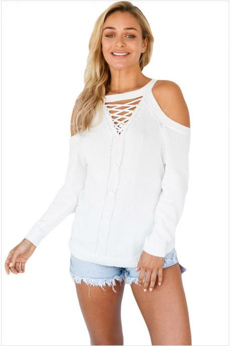White Knit Lace-Up Plunge V Cold Shoulder Long Cuffed Sleeves Sweater