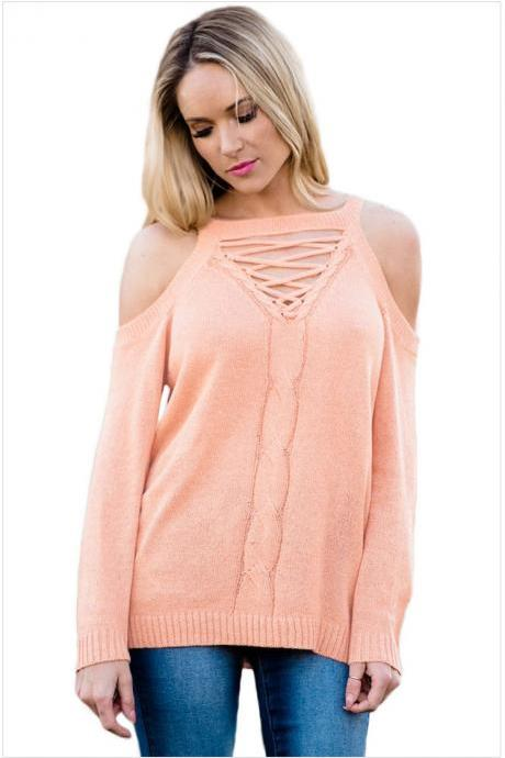 Pink Knit Lace-Up Plunge V Cold Shoulder Long Cuffed Sleeves Sweater