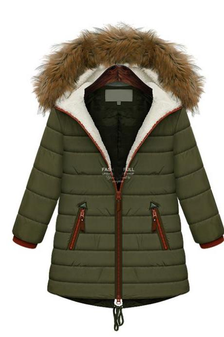 High Quality Women Fur Hat Long Sleeve Lambswool Coat For Winter - Army Green