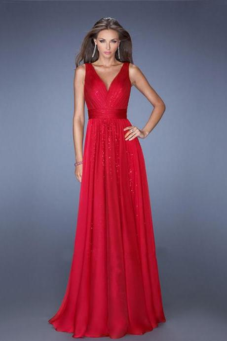 Sexy V Neck Grenadine Chiffon Evening Dress - Red