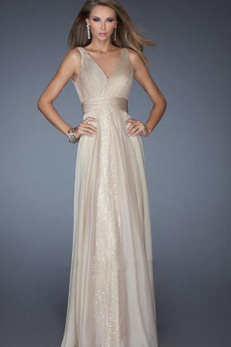 Sexy V Neck Grenadine Chiffon Evening Dress - Apricot