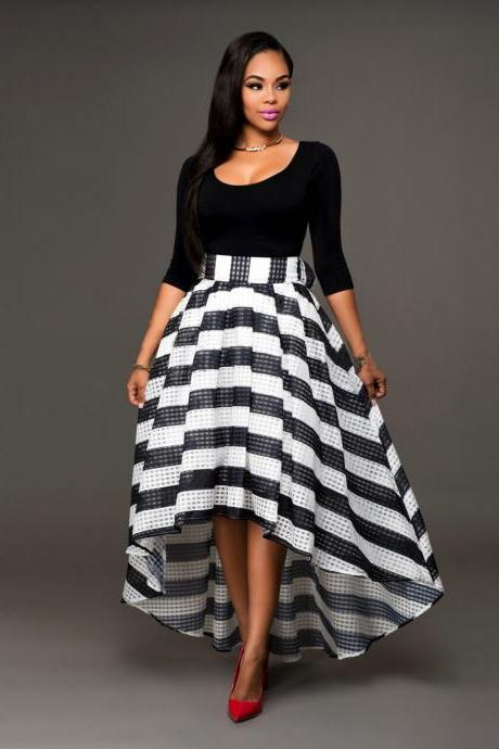 Fashion Black Top and High Low Striped Skirt