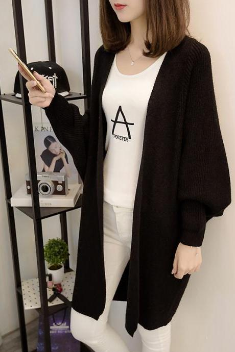 Fashion New Women Loose Style Long Sweater Cardigan - Black