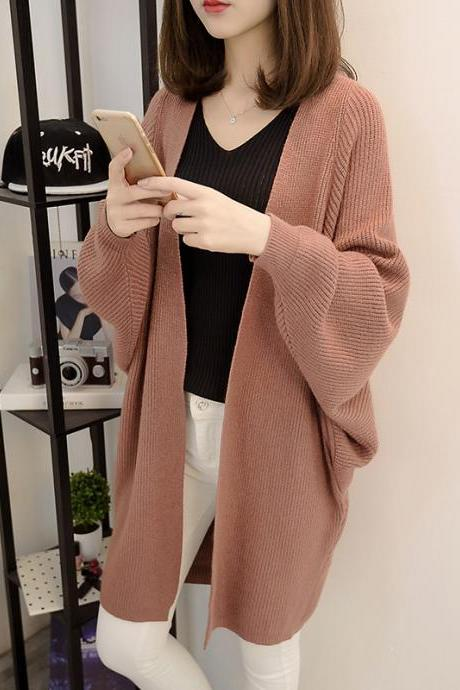 Fashion New Women Loose Style Long Sweater Cardigan - Brown