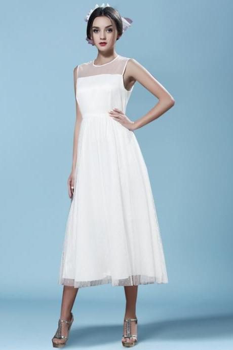 Fashion Patchwork White Long Dress