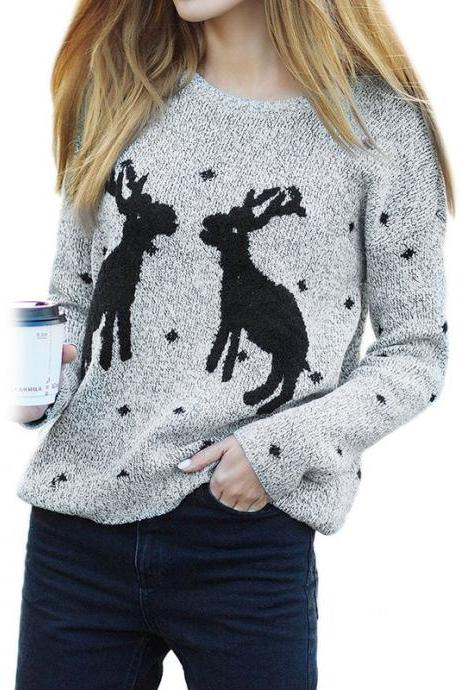 Cute Deers Round Neck Long Sleeve Sweater - Light Grey