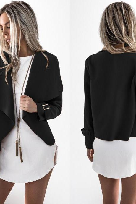Fashion New Turndown Collar Irregular Coats For Women - Black