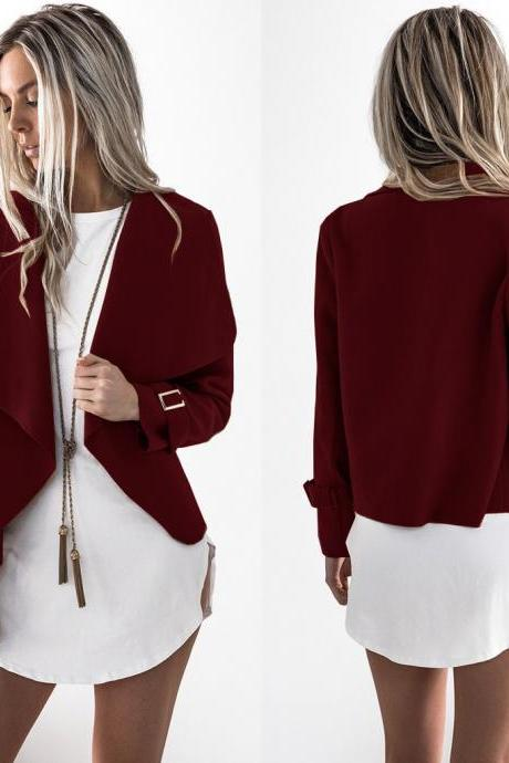 Fashion New Turndown Collar Irregular Coats For Women - Wine Red