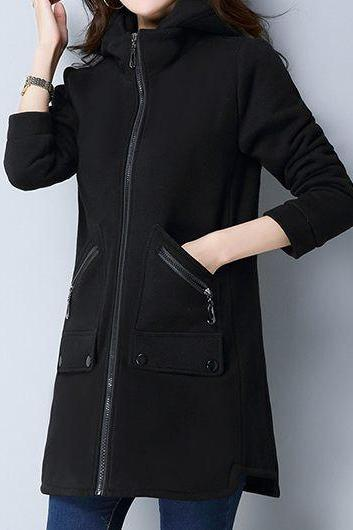Casual Zipper Up Hooded Collar Pocket Coat - Black