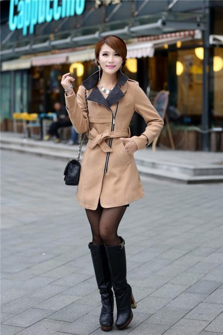 Fashion Turndown Collar Zipper Belted Woolen Winter Coat - Khaki