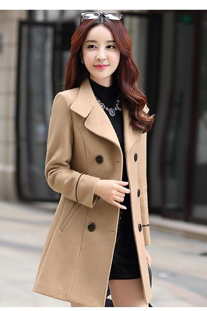 High Quality Double Breasted Wool Winter Coat - Brown