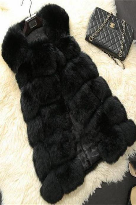 High Quality Women Luxurious Fur Winter Vest - Black