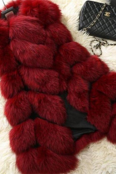 High Quality Women Luxurious Fur Winter Vest - Wine Red