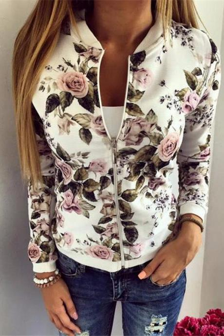 Fashion New White Floral Bomber Jacket For Women