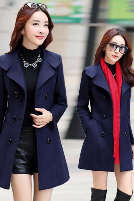 Fashion New Turndown Collar Double Breasted Wool Winter Coat - Navy Blue