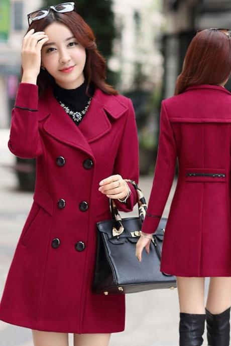 Fashion New Turndown Collar Double Breasted Wool Winter Coat - Wine Red