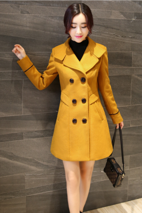 Fashion New Turndown Collar Double Breasted Wool Winter Coat - Yellow