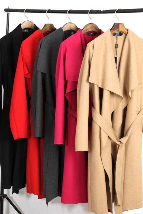 High Quality Women's Simple Ruffled Trench Coat with Sash (7 Colors)