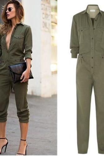 Fashion Army Green Long Sleeve Jumpsuit