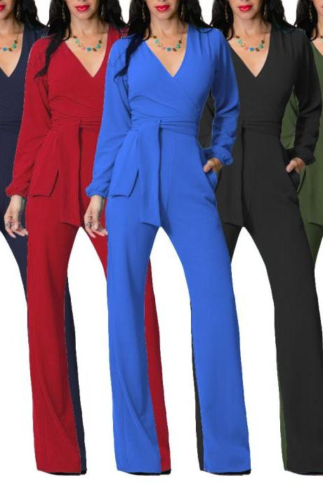 Fashion V neck Long Sleeve Jumpsuit