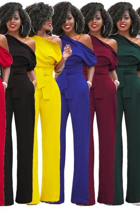 Fashion Off One Shoulder Sexy Long Jumpsuits (7 Colors)