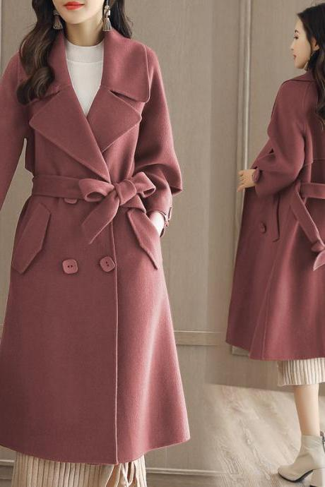 Luxurious And Fashion Loose Long Wool Winter Coat - Caramel