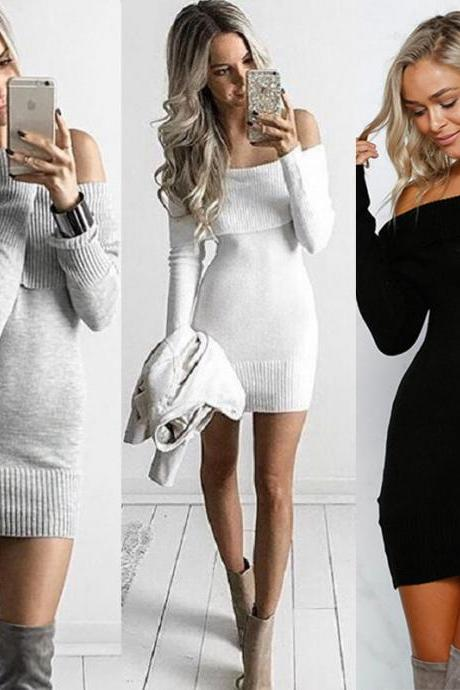 Sexy Off Shoulders Sweater Dress (3 Colors)