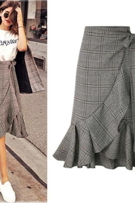 High Quality Fashion New Plaid Fishtail Skirts 8659 (2 Colors)