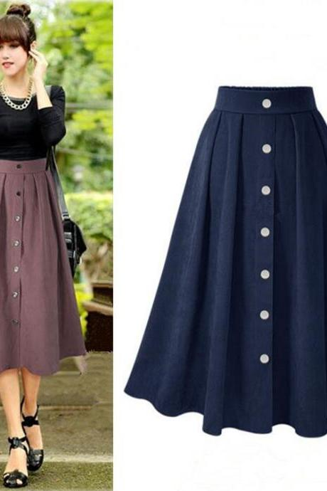 Fashion New High Waist Button Skirts For Winter&Autumn 8658 (3 Colors)