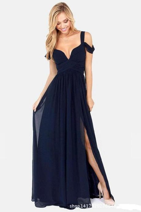 Sexy And Fashion Maxi Chiffon Evening Dress - Navy Blue
