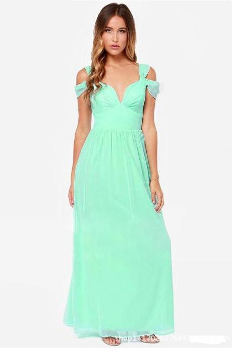 Sexy And Fashion Maxi Chiffon Evening Dress - Green