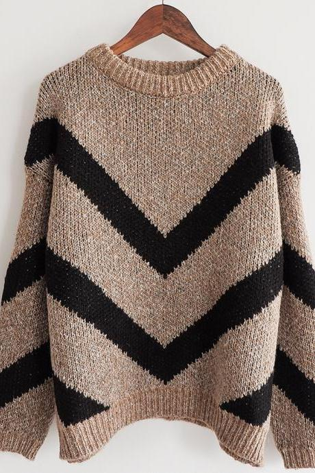 High Quality Fashion New Geometric Print Sweater For Women - Khaki