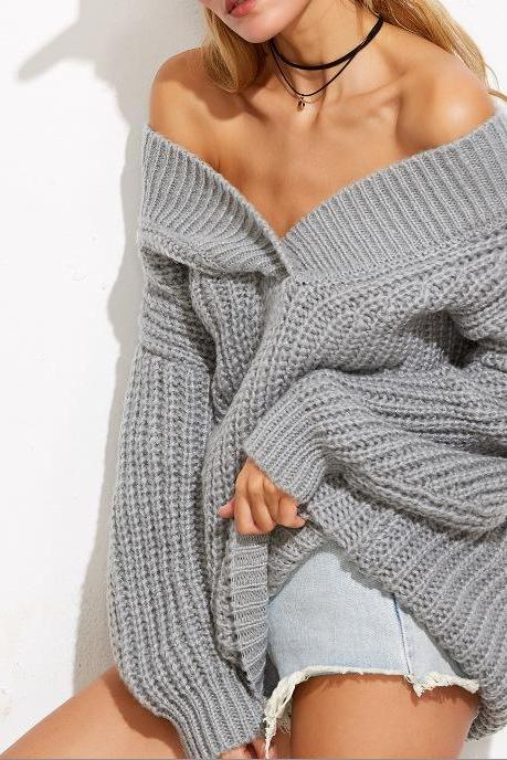 Grey Knitted Off-The-Shoulder Plunge V Long Cuffed Sleeves Sweater