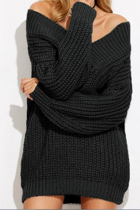 Black Knitted Off-The-Shoulder Plunge V Short Sweater Featuring Long Sleeves