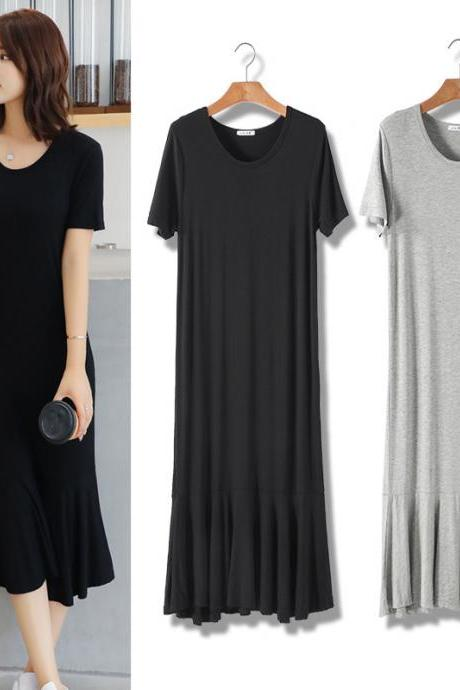New Casual Short Sleeve Solid Long Dress